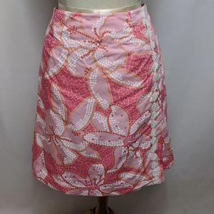 Lilly Pulitzer Pink Cotton Floral Skirt Size 14
